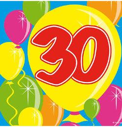 Balloons 30-as Számos Szülinapi Parti Szalvéta - 25 cm x 25 cm, 20 db-os