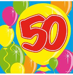 Balloons 50-es Számos Szülinapi Parti Szalvéta - 25 cm x 25 cm, 20 db-os