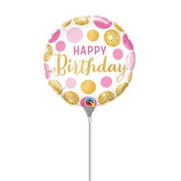 9 inch-es Birthday Pink & Gold Dots Szülinapi Fólia Lufi