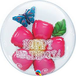 24 inch-es Birthday Flower Szülinapi Héliumos Double Bubble Lufi