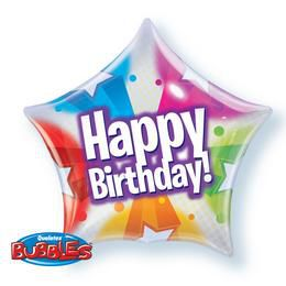 22 inch-es Birthday Stars and Dot Star Bubble Csillag Alakú Héliumos Lufi
