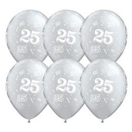 25-ös Szülinapi Számos Lufi - Ezüst, 28 cm, 25 db