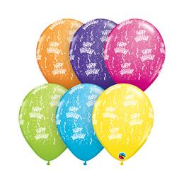 11 inch-es Birthday-A-Round Tropical Asst. Szülinapi Lufi (25 db/csomag)
