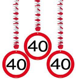 40-es Sebességkorlátozó Szülinapi Parti Függő Dekoráció - 3 db-os