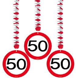 50-es Sebességkorlátozó Szülinapi Parti Függő Dekoráció - 3 db-os