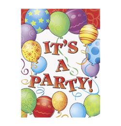 Birthday Balloons - Léggömbös Szülinapi Meghívókártya és Boríték - 8 db-os