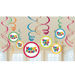 Happy Birthday Spirális Szülinapi Függő Dekoráció - 12 db-os