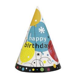 Breezy Birthday Szülinapi Parti Kalap - 8 db-os
