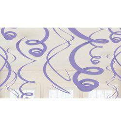 Lila Spirális Függő Dekoráció - 56 cm, 12 db-os