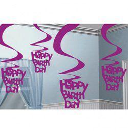 Lila Happy Birthday Szülinapi Spirális Függő Dekoráció - 5 db-os