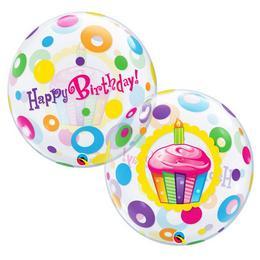 22 inch-es Birthday Cupcakes és Dots Szülinapi Héliumos Bubble Lufi