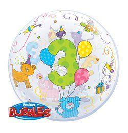 22 inch-es Age 3 Cuddly Pets - Háziállatos - Szülinapi Héliumos Bubble Lufi