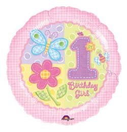 18 inch-es Hugs és Stitches - 1st Birthday Girl Szülinapi Héliumos Fólia Lufi