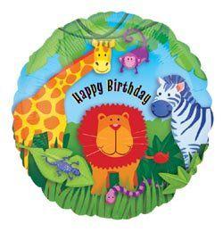 18 inch-es Jungle Animals Happy Birthday Szülinapi Héliumos Fólia Lufi
