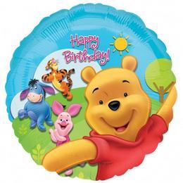 18 inch-es Micimackó - Pooh és Friends Sunny Birthday - Szülinapi Héliumos Fólia Lufi