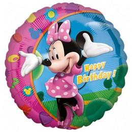 18 inch-es Minnie - Happy Birthday - Szülinapi Héliumos Fólia Lufi