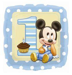 18 inch-es Mikiegér - Mickey First Birthday Boy - Első Szülinapi Héliumos Fólia Lufi