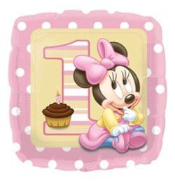 17 inch-es Minnie Egér (Minnie First Birthday) Első Szülinapi Héliumos Fólia Lufi