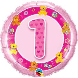 18 inch-es Rózsaszín Macik Age 1-es Pink Teddies Szülinapi Számos Héliumos Fólia Lufi