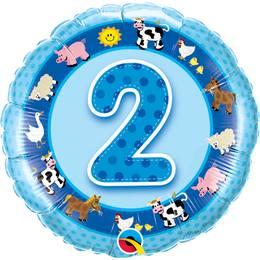 18 inch-es Házi Állatok Age 2-es Farm Animals Szülinapi Számos Héliumos Fólia Lufi