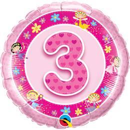 18 inch-es Rózsaszín - Age 3-as Pink Fairies Szülinapi Számos Héliumos Fólia Lufi