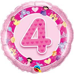 18 inch-es Rózsaszín - Age 4-es Pink Princess Szülinapi Számos Héliumos Fólia Lufi