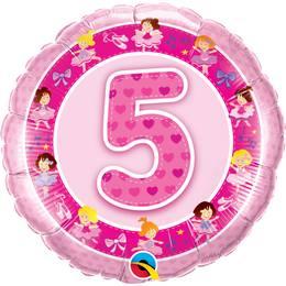 18 inch-es Rózsaszín Balerina - Age 5-ös Pink Szülinapi Számos Héliumos Fólia Lufi