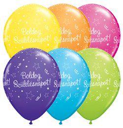 Boldog Születésnapot Csillagos Szülinapi Lufi - Színes, 28 cm, 25 db