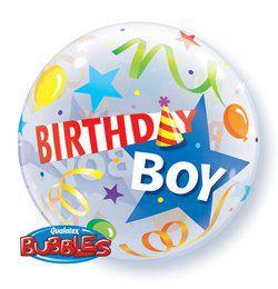 22 inch-es Kisfiúknak - Birthday Boy Party Hat Szülinapi Héliumos Bubble Lufi