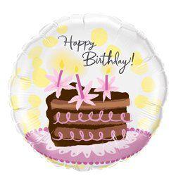 18 inch-es Csokitortás - Birthday Chocolate Cake Slice Szülinapi Héliumos Fólia Lufi