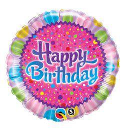 18 inch-es Pöttyök - Birthday Sprinkles and Sparkles Szülinapi Héliumos Fólia Lufi