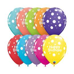11 inch-es Birthday Big Polka Dots - Pöttyös Szülinapi Lufi (6 db/csomag)