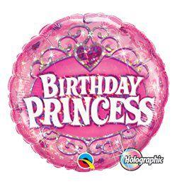 18 inch-es Birthday Princess Holografikus Szülinapi Héliumos Fólia Lufi