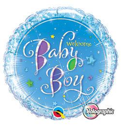 18 inch-es Welcome Baby Boy Stars Holografikus Héliumos Fólia Lufi Babaszületésre