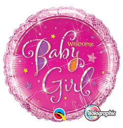 18 inch-es Welcome Baby Girl Stars Holografikus Héliumos Fólia Lufi Babaszületésre