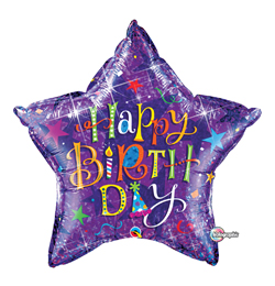 36 inch-es Birthday Holograph Szülinapi Csillag Alakú Héliumos Fólia Lufi