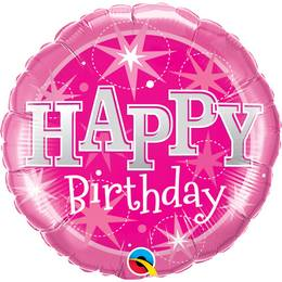 36 inch-es Birthday Pink Sparkle Szülinapi Héliumos Fólia Lufi