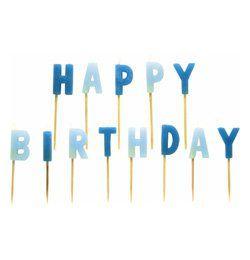 Happy Birthday Feliratú Kék Gyertya - 13 db-os