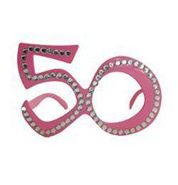 Rózsaszín 50-es Szülinapi Parti Szemüveg