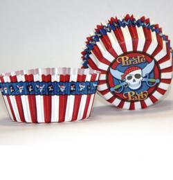 Kalózos - Pirate Muffin Tartó Forma Papírból - 7 cm, 50 db-os