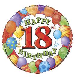 18 inch-es 18th Birthday Balloons - Léggömbös Szülinapi Számos Héliumos Fólia Lufi