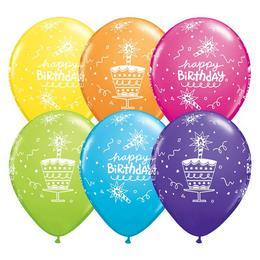 11 inch-es Birthday Cake és Candle Tropical Assortment Szülinapi Lufi (25 db/csomag)