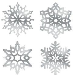 Ezüst Glitteres Hópelyhek Függő Dekoráció - 4 féle, 36 cm
