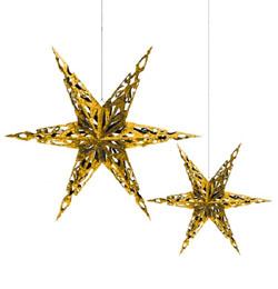 Arany Karácsonyi Csillagok Függő Dekoráció - 2 db-os