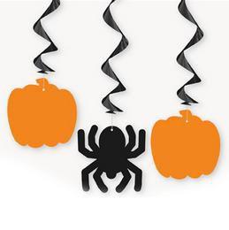 Tök és Pók Alakú Függő Dekoráció Halloween-re - 3 db-os