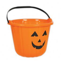 Tökfej Mintás Narancssárga Vödör Halloween-re - 16 cm x 22 cm