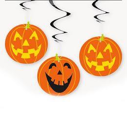 Tökfejek Spirális Függő Dekoráció Halloween-re - 3 db-os