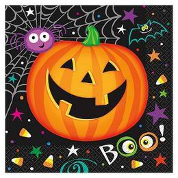 Pumpkin Pals - Tökfejes Parti Szalvéta Halloween-re - 33 cm x 33 cm, 16 db-os