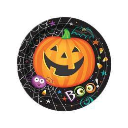 Pumpkin Pals - Tökfejes Parti Tányér Halloween-re - 18 cm, 8 db-os