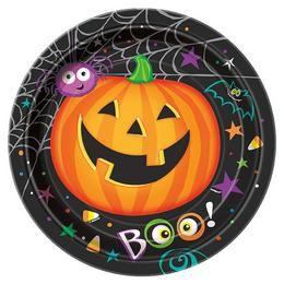 Pumpkin Pals - Tökfejes Parti Tányér Halloween-re - 23 cm, 8 db-os